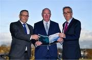 4 December 2019; Uachtarán Chumann Lúthchleas Gael John Horan, centre, with Fergal McGill, Director of Player, Club and Games Administration, left, and Eddie Sullivan, Fixtures Calandar Review Taskforce Chairman, during the Launch of GAA Fixtures Calendar Review Task Force report at GAA Museum, Croke Park in Dublin. Photo by Eóin Noonan/Sportsfile