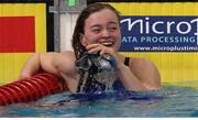 4 December 2019; Mona McSharry of Ireland after winning bronze in the Women's 50m Breaststroke Final during Day One of the European Short Course Swimming Championships 2019 at Tollcross International Swimming Centre in Glasgow, Scotland. Photo by Tino Henschel/Sportsfile
