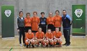 5 December 2019; The players and coaches of Scoil Mhuire Secondary School, Buncrana, Co Donegal, prior to the FAI Post Primary Schools Futsal National Finals in the WIT Arena, Waterford. Photo by David Fitzgerald/Sportsfile