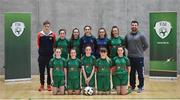 5 December 2019; The players and coaches of Presentation Secondary School, Co Wexford, prior to the FAI Post Primary Schools Futsal National Finals in the WIT Arena, Waterford. Photo by David Fitzgerald/Sportsfile