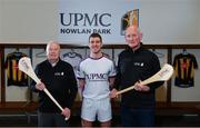 5 December 2019; Nine times All-Ireland hurling medal winner for Kilkenny Noel Skehan, Kilkenny hurler Eoin Murphy, and Kilkenny Senior hurling manager Brian Cody, right, at the official announcement of UPMC's ten-year naming right partnership with Kilkenny GAA that sees the home of Kilkenny GAA renamed UPMC Nowlan Park. This announcement complements UPMC's association with the GAA / GPA as official healthcare partner to Gaelic players, the established National Concussion Symposium and the UPMC Concussion Network, the first nationwide network established for concussion diagnosis and care. UPMC is the main sponsor of the Waterford IT Vikings GAA Club and headline sponsor of the 2020 UPMC Ashbourne Cup Weekend. Photo by Sam Barnes/Sportsfile