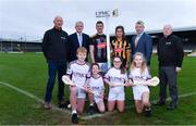 5 December 2019; In attendance at the official announcement of UPMC's ten-year naming right partnership with Kilkenny GAA that sees the home of Kilkenny GAA renamed UPMC Nowlan Park, are,  backrow from left, Kilkenny Senior hurling manager Brian Cody, Kilkenny hurler Eoin Murphy, Kilkenny camogie player Katie Power, David Beirne and Nine times All-Ireland hurling medal winner for Kilkenny Noel Skehan, with front row, from left,  Jeff Tyrrell, aged 12, Bill Trehy, aged 11, Ruth Nelson, aged 12, and Holly Kinchella, aged 12, from St Johns NS, Co. Kilkenny. This announcement complements UPMC's association with the GAA / GPA as official healthcare partner to Gaelic players, the established National Concussion Symposium and the UPMC Concussion Network, the first nationwide network established for concussion diagnosis and care. UPMC is the main sponsor of the Waterford IT Vikings GAA Club and headline sponsor of the 2020 UPMC Ashbourne Cup Weekend. Photo by Sam Barnes/Sportsfile