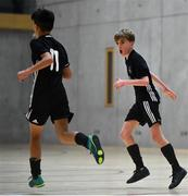 5 December 2019; Jamie O'Brien, right, of St. Franics College, Rochestown, Co Cork celebrates after scoring a goal with team-mate Noah Sowinski during the match between St. Francis College and Rice College at the FAI Post Primary Schools Futsal National Finals in the WIT Arena, Waterford United. Photo by David Fitzgerald/Sportsfile