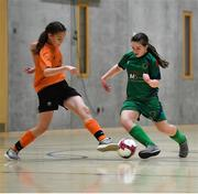 5 December 2019; Emma Cullen of Presentation Secondary School, Co Wexford in action against Ciara McGee of Scoil Mhuire Secondary School, Buncrana, Co Donegal during the match between Presentation SS Wexford and Scoil Mhuire SS Buncrana at the FAI Post Primary Schools Futsal National Finals in the WIT Arena, Waterford. Photo by David Fitzgerald/Sportsfile