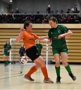 5 December 2019; Jane Murphy of Presentation Secondary School, Co Wexford in action against Aine Jordan of Scoil Mhuire Secondary School, Buncrana, Co Donegal during the match between Presentation SS Wexford and Scoil Mhuire SS Buncrana at the FAI Post Primary Schools Futsal National Finals in the WIT Arena, Waterford. Photo by David Fitzgerald/Sportsfile