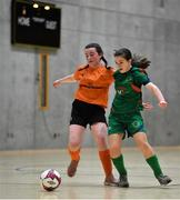 5 December 2019; Emma Cullen of Presentation Secondary School, Co Wexford in action against Aine Jordan of Scoil Mhuire Secondary School, Buncrana, Co Donegal during the match between Presentation SS Wexford and Scoil Mhuire SS Buncrana at the FAI Post Primary Schools Futsal National Finals in the WIT Arena, Waterford. Photo by David Fitzgerald/Sportsfile