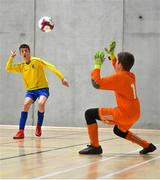 5 December 2019; Paul Galvin of St. Mary's Diocesan School, Drogheda, Co Louth in action against Joe Lyons of St. Franics College, Rochestown, Co Cork during the match between St. Francis College and St Mary's Diocesan School at the FAI Post Primary Schools Futsal National Finals in the WIT Arena, Waterford. Photo by David Fitzgerald/Sportsfile