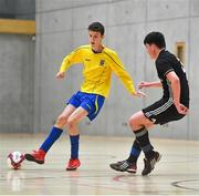 5 December 2019; Paul Galvin of St. Mary's Diocesan School, Drogheda, Co Louth in action against Eoghan Murphy of St. Franics College, Rochestown, Co Cork during the match between St. Francis College and St Mary's Diocesan School at the FAI Post Primary Schools Futsal National Finals in the WIT Arena, Waterford. Photo by David Fitzgerald/Sportsfile