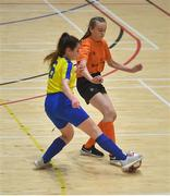 5 December 2019; Amy McBride of Scoil Mhuire Secondary School, Buncrana, Co Donegal in action against Áine McLaughlin of St. Clare's Comprehensive School, Manorhamilton, Co Leitrim during the match between Presentation SS Wexford and Presentation SS Thurles at the FAI Post Primary Schools Futsal National Finals in the WIT Arena, Waterford. Photo by David Fitzgerald/Sportsfile