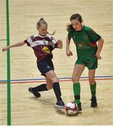5 December 2019; Arwen Murphy of Presentation Secondary School, Co Wexford in action against Ella Coppinger of Presentation Secondary School, Thurles, Co Tipperary during the match between Presentation SS Wexford and Presentation SS Thurles at the FAI Post Primary Schools Futsal National Finals in the WIT Arena, Waterford. Photo by David Fitzgerald/Sportsfile