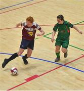 5 December 2019; Ciara Shelly of Presentation Secondary School, Thurles, Co Tipperary in action against Emma Cullen of Presentation Secondary School, Co Wexford during the match between Presentation SS Wexford and Presentation SS Thurles at the FAI Post Primary Schools Futsal National Finals in the WIT Arena, Waterford. Photo by David Fitzgerald/Sportsfile