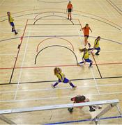 5 December 2019; Katelyn Gilgunn of St. Clare's Comprehensive School, Manorhamilton, Co Leitrim saves the shot from Jodie Loughrey of Scoil Mhuire Secondary School, Buncrana, Co Donegal during the match between Presentation SS Wexford and Presentation SS Thurles at the FAI Post Primary Schools Futsal National Finals in the WIT Arena, Waterford. Photo by David Fitzgerald/Sportsfile