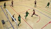 5 December 2019; Amy Reddan of Presentation Secondary School, Thurles, Co Tipperary in action against Zara Corrigan of Presentation Secondary School, Co Wexford during the match between Presentation SS Wexford and Presentation SS Thurles at the FAI Post Primary Schools Futsal National Finals in the WIT Arena, Waterford. Photo by David Fitzgerald/Sportsfile