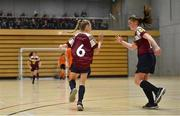5 December 2019; Ella Coppinger of Presentation Secondary School, Thurles, Co Tipperary, left, and team-mate Sarah Byrne celebrate a goal during the match between Scoil Mhuire SS Buncrana and Presentation SS Thurles at the FAI Post Primary Schools Futsal National Finals in the WIT Arena, Waterford United. Photo by David Fitzgerald/Sportsfile
