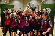 5 December 2019; Players of Presentation Secondary School, Thurles, Co Tipperary celebrate following the FAI Post Primary Schools Futsal National Finals in the WIT Arena, Waterford United. Photo by David Fitzgerald/Sportsfile
