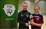 5 December 2019; Grace Flanagan of Presentation Secondary School, Thurles, Co Tipperary is presented with her player of the tournament award by Stephen Quinn, FAI Development Officer for South Tipperary following the FAI Post Primary Schools Futsal National Finals in the WIT Arena, Waterford United. Photo by David Fitzgerald/Sportsfile