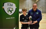 5 December 2019; Jamie O'Brien of St. Franics College, Rochestown, Co Cork is presented with his player of the tournament award by Gary Power, FAI Development Officer for Waterford United following the FAI Post Primary Schools Futsal National Finals in the WIT Arena, Waterford. Photo by David Fitzgerald/Sportsfile