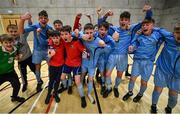 5 December 2019; Players of Rice College, Westport, Co Mayo celebrate after winning the FAI Post Primary Schools Futsal National Finals in the WIT Arena, Waterford United. Photo by David Fitzgerald/Sportsfile