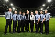 5 December 2019; Republic of Ireland Manager Mick McCarthy, centre, with members of An Garda Síochána, from left, Sargent Michael Nagle, Garda Mark Walsh, Garda John Donnelly, Garda Susan Lauster, Chief-Superintendent Lorraine Wheatley, Inspector Christopher Grogan, Garda Shane Griffin and Sargent Colm Kelly at the launch of the 2019 Dublin South Central Garda Youth Awards, in association with Aviva. The awards celebrate outstanding young people aged between 13 and 21 years of age and recognise the good work being done by young people throughout the communities of Dublin South Central. See garda.ie for further details. Photo by Eóin Noonan/Sportsfile