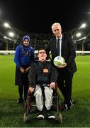 5 December 2019; Republic of Ireland Manager Mick McCarthy with Zahida Bano and Brandon Warren-Dowling at the launch of the 2019 Dublin South Central Garda Youth Awards, in association with Aviva. The awards celebrate outstanding young people aged between 13 and 21 years of age and recognise the good work being done by young people throughout the communities of Dublin South Central. See garda.ie for further details. Photo by Eóin Noonan/Sportsfile