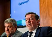 6 December 2019; FAI President Donal Conway, right, and lead executive Paul Cooke during an FAI Press Conference at FAI HQ in Abbotstown, Dublin. Photo by David Fitzgerald/Sportsfile