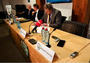 6 December 2019; FAI board members await the arrival of President Donal Conway prior to an FAI Press Conference at FAI HQ in Abbotstown, Dublin. Photo by David Fitzgerald/Sportsfile