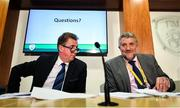 6 December 2019; FAI Board Member John Earley, Chairman of the Underage Committee, left, and executive lead Paul Cooke during an FAI Press Conference at FAI HQ in Abbotstown, Dublin. Photo by David Fitzgerald/Sportsfile