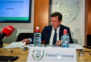 6 December 2019; FAI President Donal Conway during an FAI Press Conference at FAI HQ in Abbotstown, Dublin. Photo by David Fitzgerald/Sportsfile