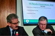 6 December 2019; A view of a TV screen showing slides presented by FAI lead executive Paul Cooke during an FAI Press Conference at FAI HQ in Abbotstown, Dublin. Photo by David Fitzgerald/Sportsfile