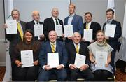 6 December 2019; The OFI Athletes' Commission are hosting the EOC Athletes Forum in Dublin this weekend. On the opening evening Ronnie Delany, President of the Irish Olympians, presented OLY pins and a World Olympians Association certificate to several Team Ireland Olympians. Pictured are Irish Olympians, back row, from left, John Bouchier-Hayes OLY, Michael Ryan OLY, Phil Conway OLY, David Harte OLY, David Wilkins OLY and Shane O Connor OLY. Front row, from left, Grainne Murphy OLY, Michael Carruth OLY, Ronnie Delany OLY and Natalya Coyle OLY. Photo by Ramsey Cardy/Sportsfile