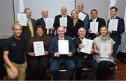 6 December 2019; The OFI Athletes' Commission are hosting the EOC Athletes Forum in Dublin this weekend. On the opening evening Ronnie Delany, President of the Irish Olympians, presented OLY pins and a World Olympians Association certificate to several Team Ireland Olympians. Pictured are, back row, from left, John Bouchier-Hayes OLY, Michael Ryan OLY, Phil Conway OLY, Olympic Federation of Ireland President Sarah Keane, David Harte OLY, David Wilkins OLY and Shane O Connor OLY. Front row, from left, Mike Miller, CEO, World Olympians Association, Grainne Murphy OLY, Michael Carruth OLY, Ronnie Delany OLY and Natalya Coyle OLY. Photo by Ramsey Cardy/Sportsfile