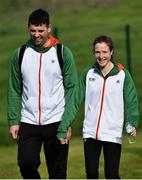 7 December 2019; Fionnuala McCormack of Ireland, right, with team physio Declan Monaghan ahead of the start of the European Cross Country Championships 2019 at Bela Vista Park in Lisbon, Portugal. Photo by Sam Barnes/Sportsfile