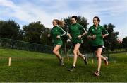 7 December 2019; Ireland athletes, from left, Mary Mulhare, Una Britton and Fionnuala McCormack ahead of the start of the European Cross Country Championships 2019 at Bela Vista Park in Lisbon, Portugal. Photo by Sam Barnes/Sportsfile