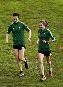 7 December 2019; Ireland athletes Una Britton, left, and Fionnuala McCormack ahead of the start of the European Cross Country Championships 2019 at Bela Vista Park in Lisbon, Portugal. Photo by Sam Barnes/Sportsfile