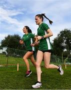 7 December 2019; Ireland athletes Fionnuala Ross, left, and Ciara Mageean ahead of the start of the European Cross Country Championships 2019 at Bela Vista Park in Lisbon, Portugal. Photo by Sam Barnes/Sportsfile