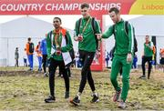 7 December 2019; Ireland athletes, from left, Efrem Gidey, Cathal Doyle and Eoin Pierce ahead of the start of the European Cross Country Championships 2019 at Bela Vista Park in Lisbon, Portugal. Photo by Sam Barnes/Sportsfile