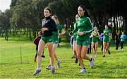 7 December 2019; Ireland athletes, Sorcha McAlister, left, and Claire Fagan ahead of the start of the European Cross Country Championships 2019 at Bela Vista Park in Lisbon, Portugal. Photo by Sam Barnes/Sportsfile