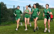 7 December 2019; Ireland athletes, from left, Claire Fagan, Jodie McCann, Danielle Donegan and Sorcha McAlister ahead of the start of the European Cross Country Championships 2019 at Bela Vista Park in Lisbon, Portugal. Photo by Sam Barnes/Sportsfile