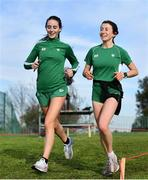 7 December 2019; Ireland athletes Claire Fagan, left, and Sorcha McAlister ahead of the start of the European Cross Country Championships 2019 at Bela Vista Park in Lisbon, Portugal. Photo by Sam Barnes/Sportsfile
