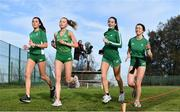 7 December 2019; Ireland athletes, from left, Danielle Donegan, Jodie McCann, Claire Fagan and Sorcha McAlister ahead of the start of the European Cross Country Championships 2019 at Bela Vista Park in Lisbon, Portugal. Photo by Sam Barnes/Sportsfile