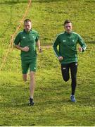 7 December 2019; Irish athletes John Travers, left, and Liam Brady, ahead of the start of the European Cross Country Championships 2019 at Bela Vista Park in Lisbon, Portugal. Photo by Sam Barnes/Sportsfile