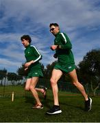 7 December 2019; Ireland athletes Damien Landers and Conor Bradley ahead of the start of the European Cross Country Championships 2019 at Bela Vista Park in Lisbon, Portugal. Photo by Sam Barnes/Sportsfile
