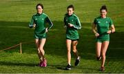 7 December 2019; Ireland athletes Roisin Flanagan, Aoibhe Richardson, and Fian Sweeney ahead of the start of the European Cross Country Championships 2019 at Bela Vista Park in Lisbon, Portugal. Photo by Sam Barnes/Sportsfile