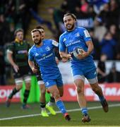 7 December 2019; James Lowe of Leinster on his way to scoring his side's first try during the Heineken Champions Cup Pool 1 Round 3 match between Northampton Saints and Leinster at Franklins Gardens in Northampton, England. Photo by Ramsey Cardy/Sportsfile