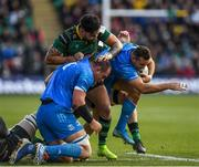 7 December 2019; Dave Kearney of Leinster is tackled by Teimana Harrison of Northampton Saints during the Heineken Champions Cup Pool 1 Round 3 match between Northampton Saints and Leinster at Franklins Gardens in Northampton, England. Photo by Ramsey Cardy/Sportsfile