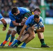 7 December 2019; Dave Kearney, supported by Leinster team-mate James Ryan is tackled by Teimana Harrison of Northampton Saints during the Heineken Champions Cup Pool 1 Round 3 match between Northampton Saints and Leinster at Franklins Gardens in Northampton, England. Photo by Ramsey Cardy/Sportsfile