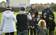 7 December 2019; Galway hurlers Joe Canning, right, and Aidan Harte take a photo with young supporters prior to the Inter-county challenge match between Galway and Clare at Ballinderreen GAA Club in Muggaunagh, Co. Galway. Photo by David Fitzgerald/Sportsfile
