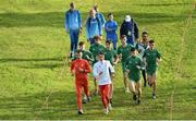 7 December 2019; Athletes, including Irish athletes, from left, Jamie Battle, Damien Landers, Shay McEvoy, Daragh McElhinney, Thomas McStay, Keelan Kilrehill and Efrem Gidey  ahead of the start of the European Cross Country Championships 2019 at Bela Vista Park in Lisbon, Portugal. Photo by Sam Barnes/Sportsfile