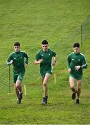 7 December 2019; Ireland athletes, from left, Jamie Battle, Keelan Kilrehill and Daragh McElhinney ahead of the start of the European Cross Country Championships 2019 at Bela Vista Park in Lisbon, Portugal. Photo by Sam Barnes/Sportsfile