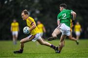 7 December 2019; Sean Ryan of Wexford is tackled by Jack Smith of Westmeath during the 2020 O'Byrne Cup Round 1 match between Wexford and Westmeath at St. Patrick's Park in Enniscorthy, Wexford. Photo by Ray McManus/Sportsfile